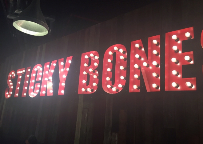 Morganfields Suntec City Sticky Bones Sign